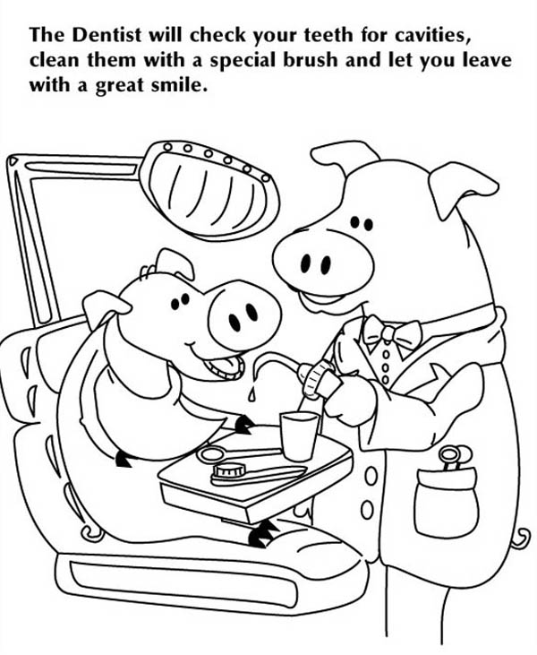 Dentist, : Check Your Teeth at Dentist Coloring Pages
