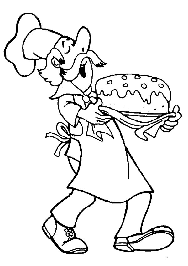 Bakery, : Chef Bakery Singing While Making Cake Coloring Pages