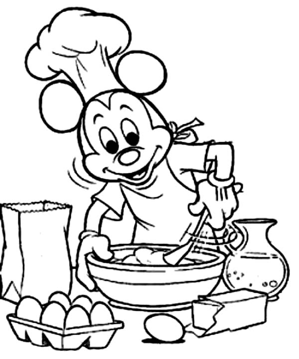 Bakery, : Chef Mickey Mouse in Bakery Coloring Pages