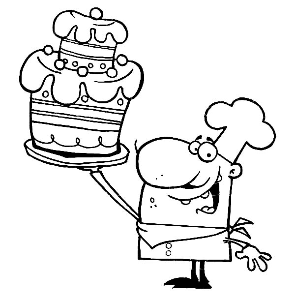 Bakery, : Chef Show His Cake in Bakery Coloring Pages