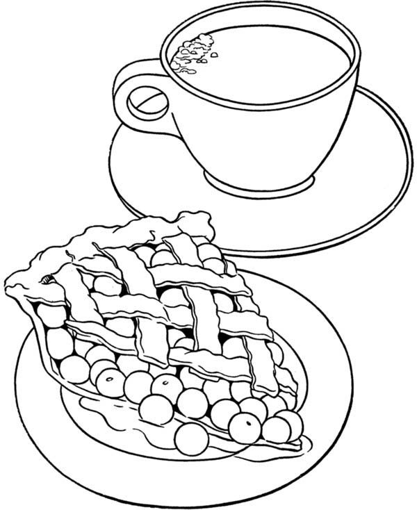Foods, : Cherry Pie Food and Milk Coloring Pages