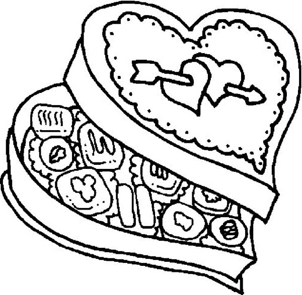 Foods, : Chocolate Food in Love Shaped Box Coloring Pages