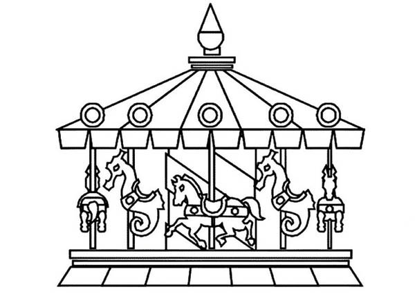 Circus and Carnival, : Circus and Carnival Beautiful Carousel Coloring Pages