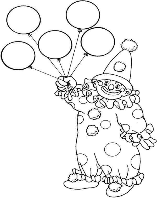 Circus and Carnival, : Circus and Carnival Clown Has Five Balloons Coloring Pages