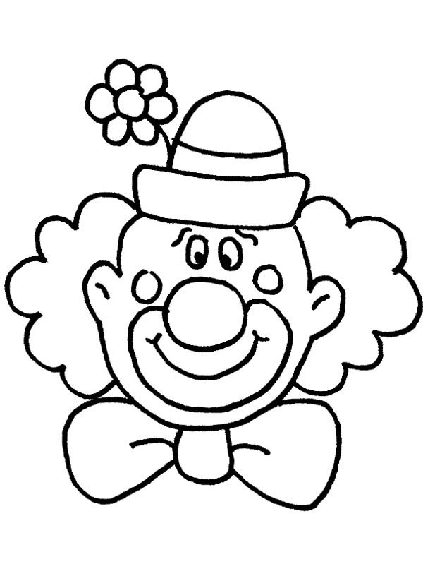 Circus and Carnival, : Circus and Carnival Clown Head Coloring Pages