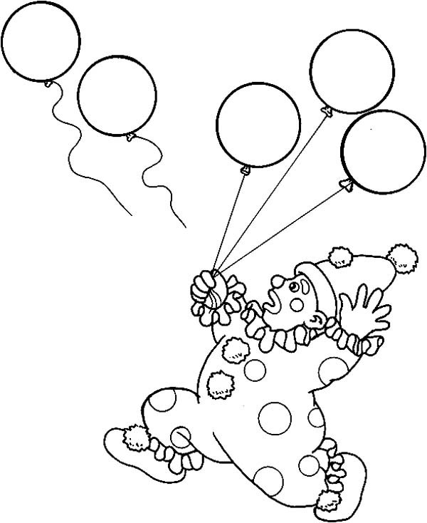 Circus and Carnival, : Circus and Carnival Clown Lose His Balloons Coloring Pages