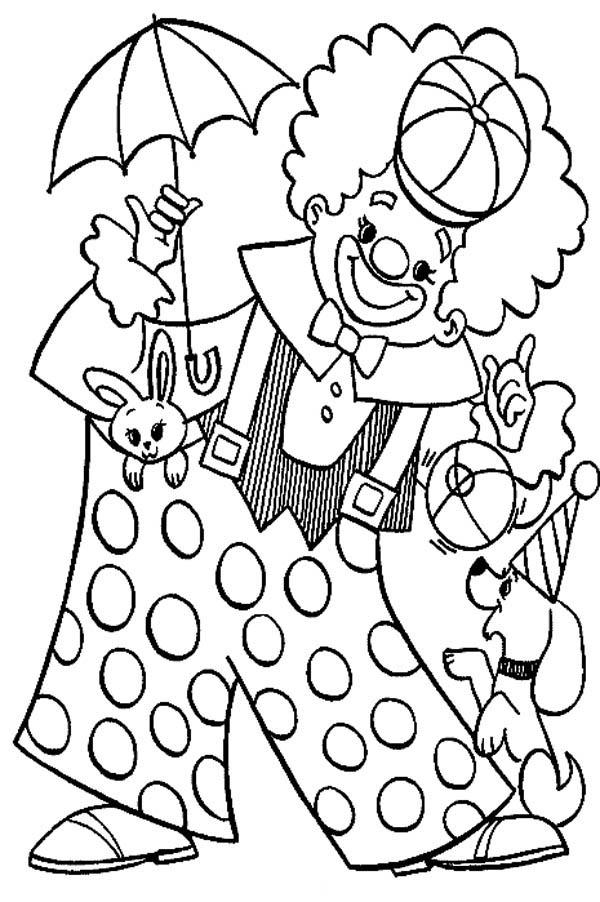 Circus and Carnival, : Circus and Carnival Clown Wearing Big Pants Coloring Pages