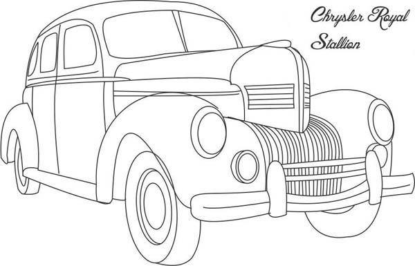 Classic Cars, : Classic Cars Coloring Pages Chrysler Royal Stallion