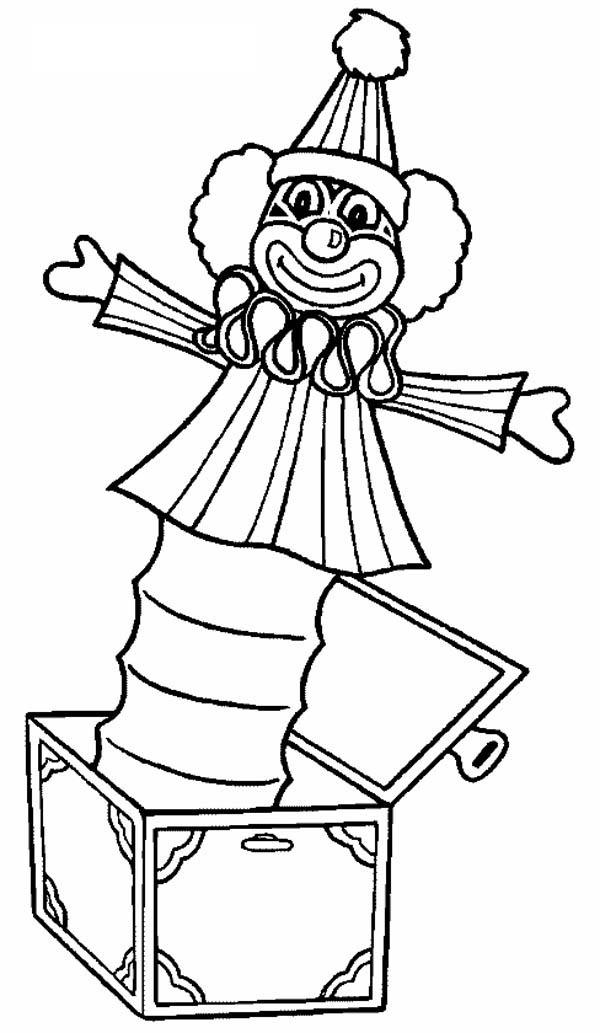 Circus and Carnival, : Clown Box at Circus and Carnival Coloring Pages