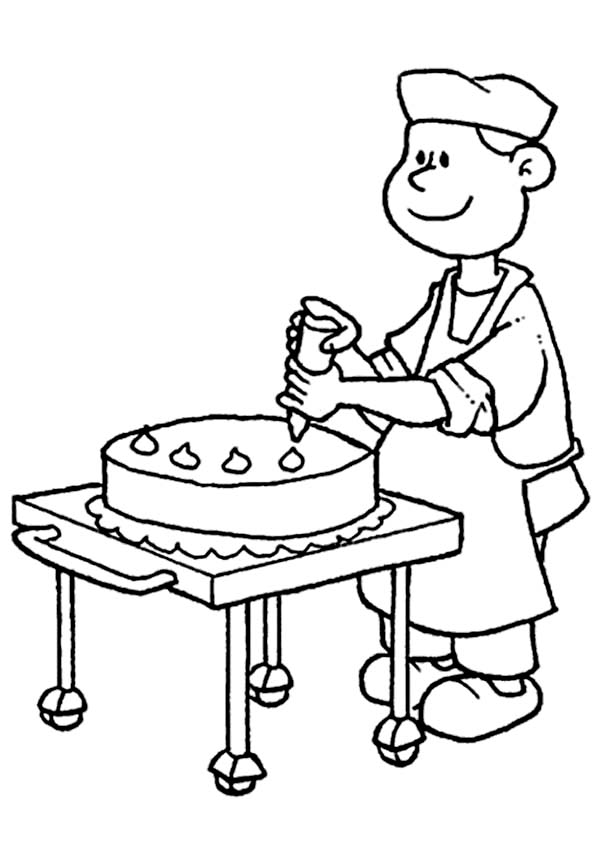 Bakery, : Decorating Wedding Cake in Bakery Coloring Pages
