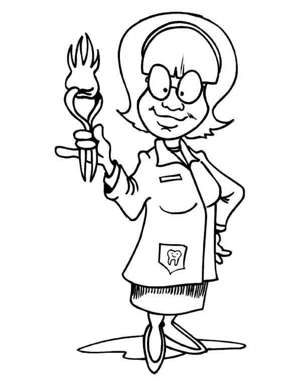 Dentist, : Dentist Holding Healthy Tooth Sample Coloring Pages