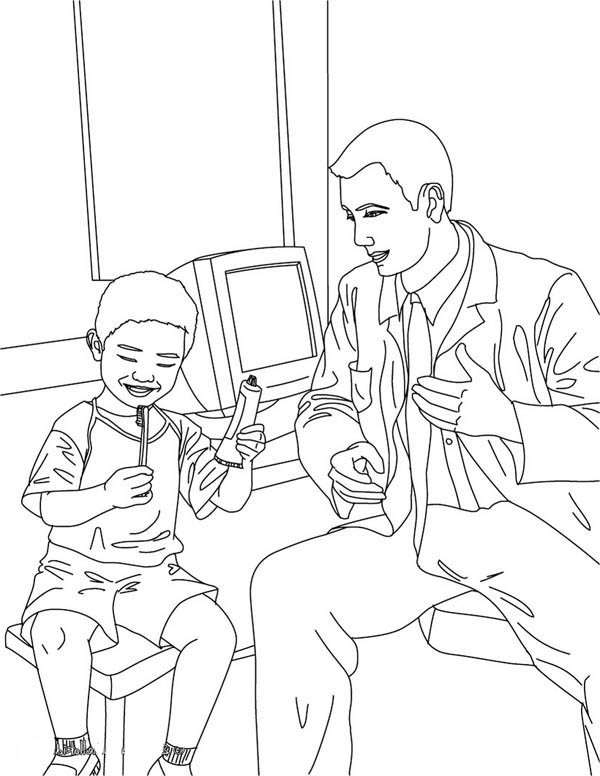 Dentist, : Dentist Teaching Kid How to Brush His Teeth Coloring Pages