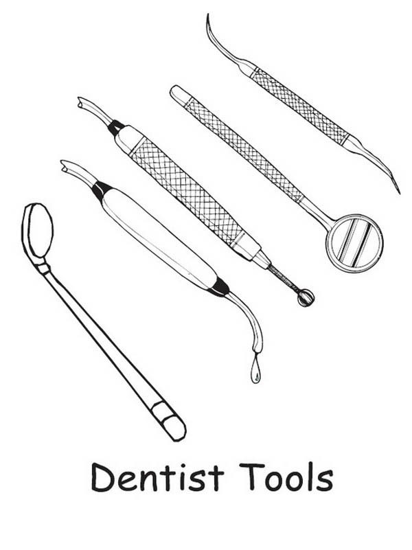 Dentist Tools Coloring Pages Bulk Color