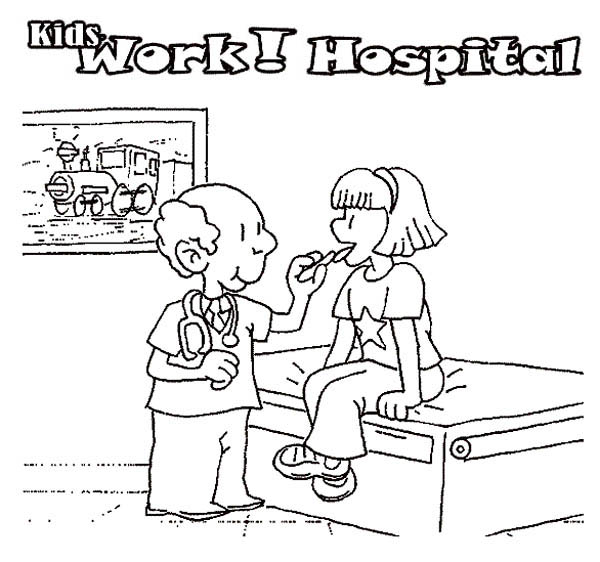 Hospital, : Doctor Checking Patient Condition in Hospital Coloring Pages