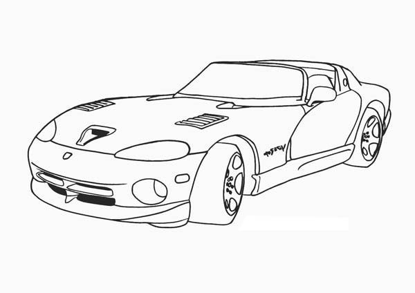Classic Cars, : Dodge Viper Classic Cars Coloring Pages