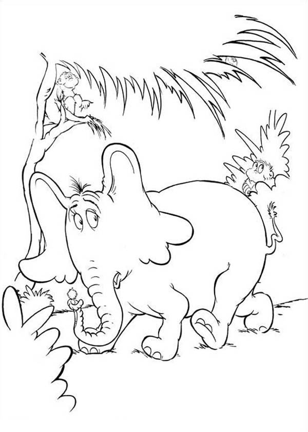 Horton, : Dr Seuss Horton Hears a Who Coloring Pages