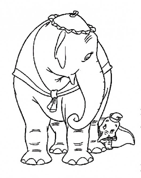 Dumbo the Elephant, : Dumbo the Elephant Hide Behind His Mother Coloring Pages