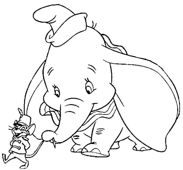 Dumbo the Elephant, : Dumbo the Elephant Hold Timothys Tail Coloring Pages