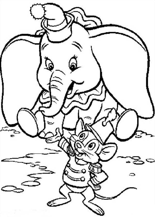 Dumbo the Elephant, : Dumbo the Elephant Listen to Timothy Coloring Pages