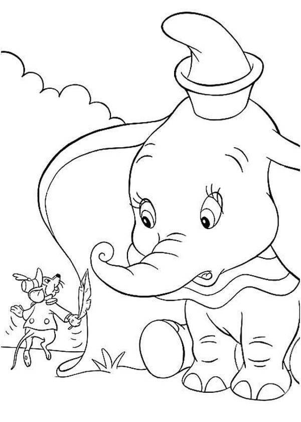 Dumbo the Elephant, : Dumbo the Elephant Look Surprised to Timothys Word Coloring Pages