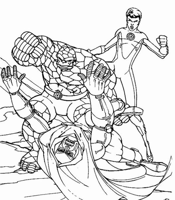 Fantastic Four, : Fantastic Four Defeat Doctor Doom Coloring Pages