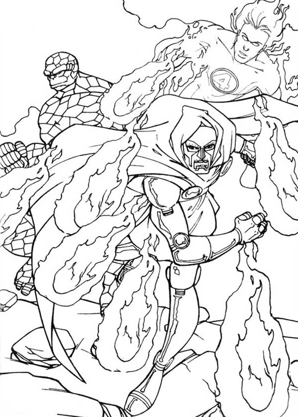Fantastic Four, : Fantastic Four Nemesis Doctor Doom Coloring Pages