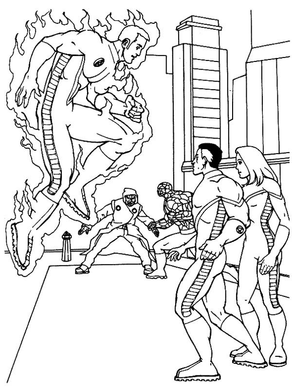 Fantastic Four, : Fantastic Four Set a Plan Coloring Pages