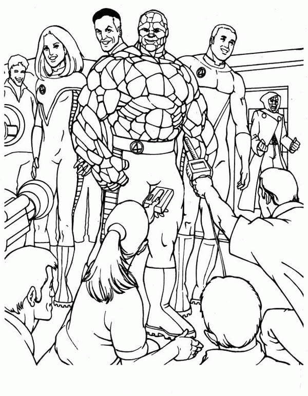 Fantastic Four, : Fantastic Four at Press Conference Coloring Pages
