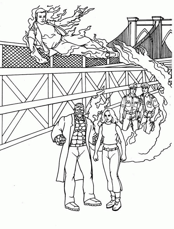 Fantastic Four, : Fantastic Four at Research Facility Coloring Pages