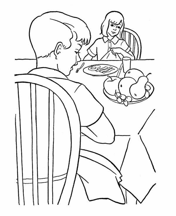 Farm Life, : Farm Life Coloring Pages Breakfast Together with Family