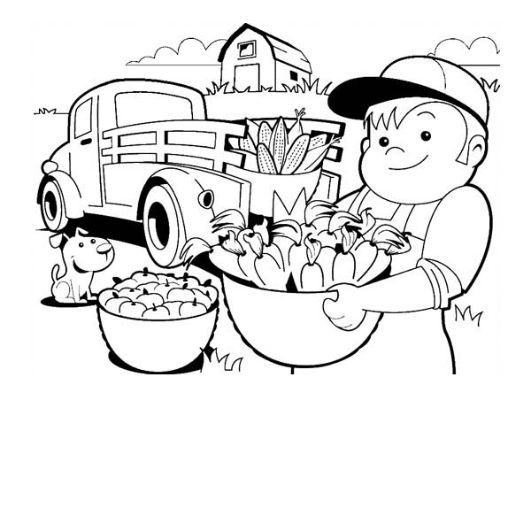 Farm Life, : Farm Life Coloring Pages Bring Crops to Town
