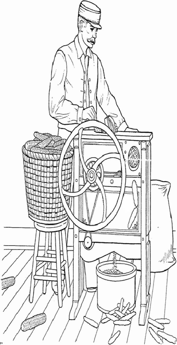 Farm Life, : Farm Life Coloring Pages Father Processing Corn into Grain