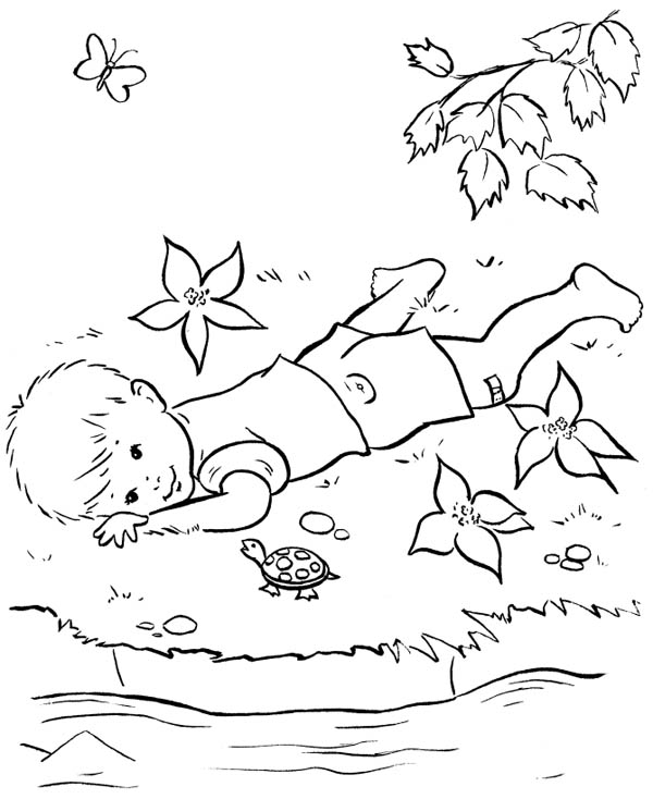Farm Life, : Farm Life Coloring Pages Little Boy Talk to a Turtle
