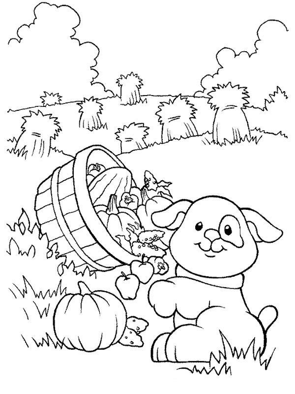 Farm Life, : Farm Life Coloring Pages Little Dog Carrying a Basket of Fruits