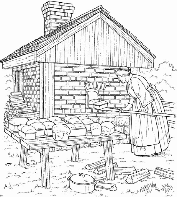 Farm Life, : Farm Life Coloring Pages Mother Baking Bread