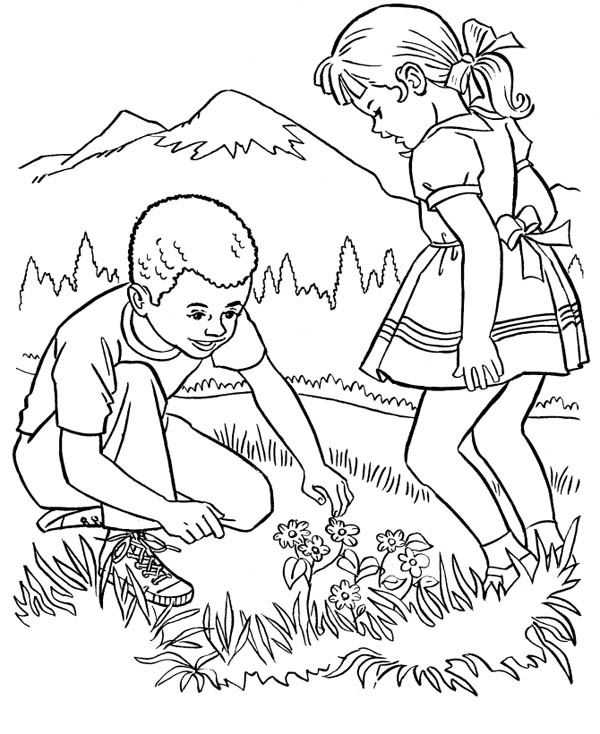 Farm Life, : Farm Life Coloring Pages Picking Beautiful Flower