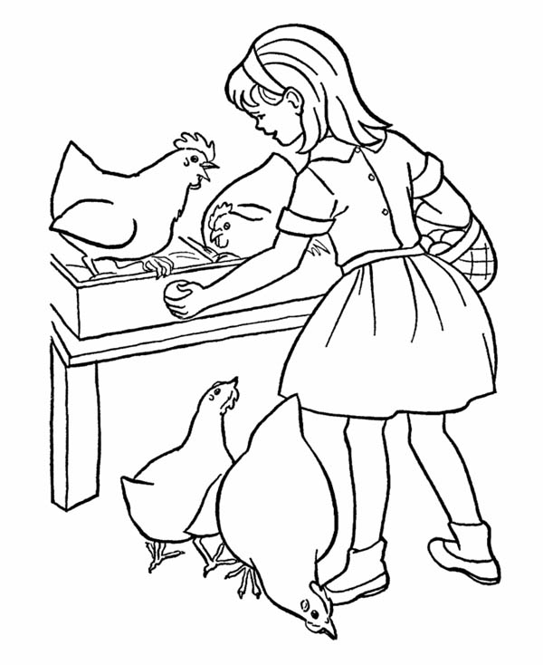 Farm Life, : Farm Life Coloring Pages take Egg from Chicken