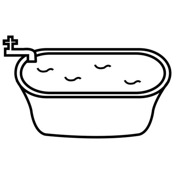 Bath, : Filling Bathtub with Water for Bath Coloring Pages