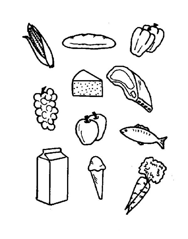 Foods, : Food for Your Health Coloring Pages
