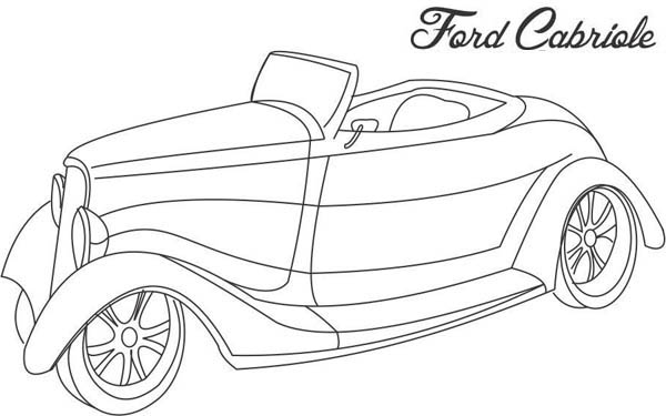 Classic Cars, : Ford Cabriole Classic Cars Coloring Pages