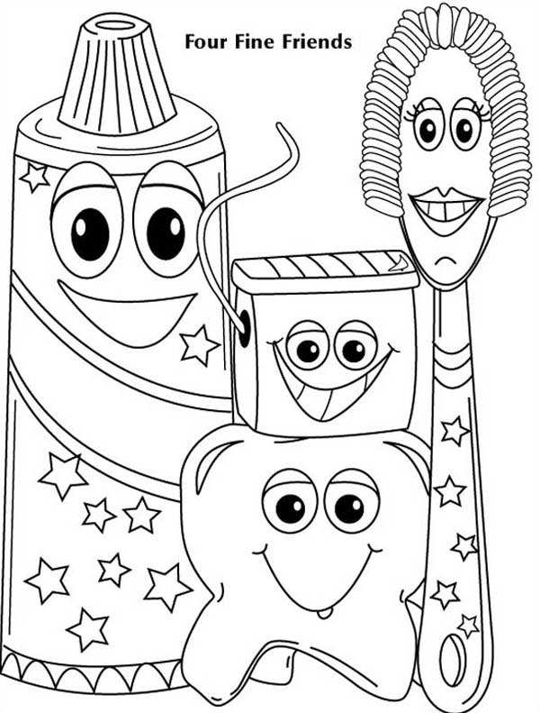 Dentist, : Four Fine Friends of Dentist Coloring Pages