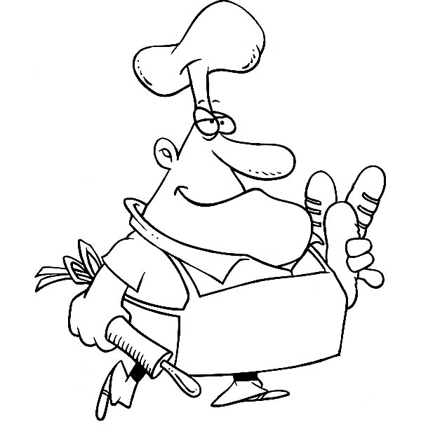 Bakery, : French Chef Bakery Coloring Pages