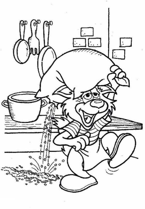 Bakery, : Funny Cat Carrying a Bag of Powder in Bakery Coloring Pages