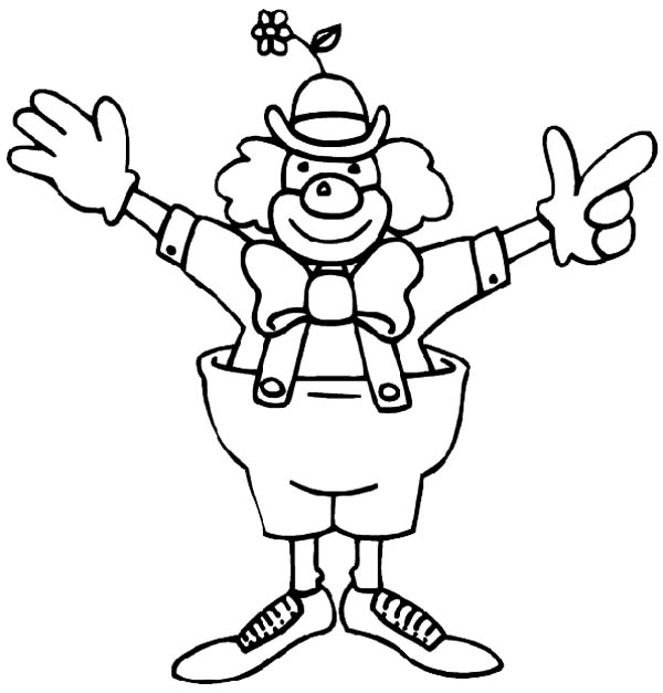 Circus and Carnival, : Funny Clown from Circus and Carnival Coloring Pages