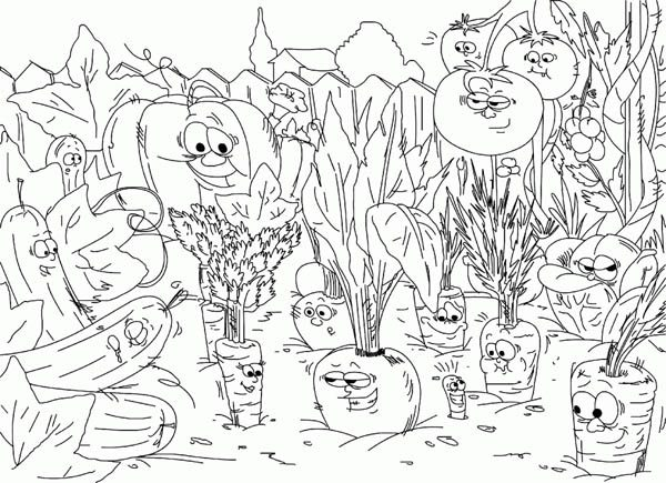 Gardening, : Gardening All Vegetables Coloring Pages