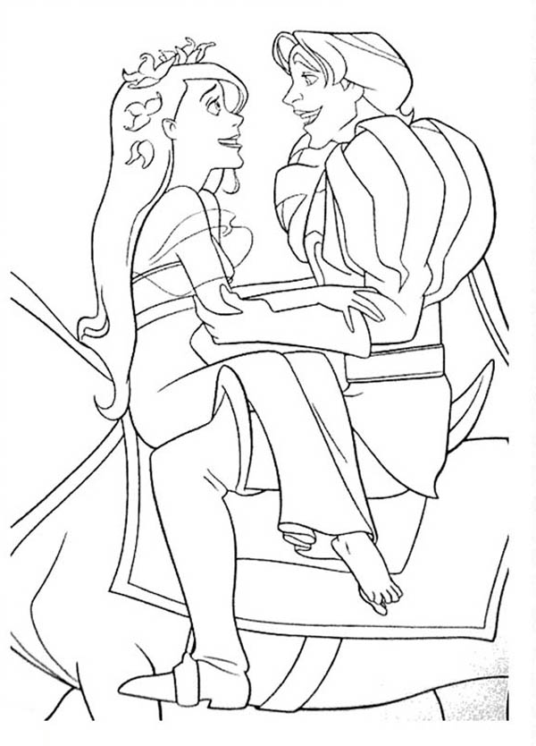 Enchanted, : Giselle Riding Horse with Prince Edward in Enchanted Coloring Pages