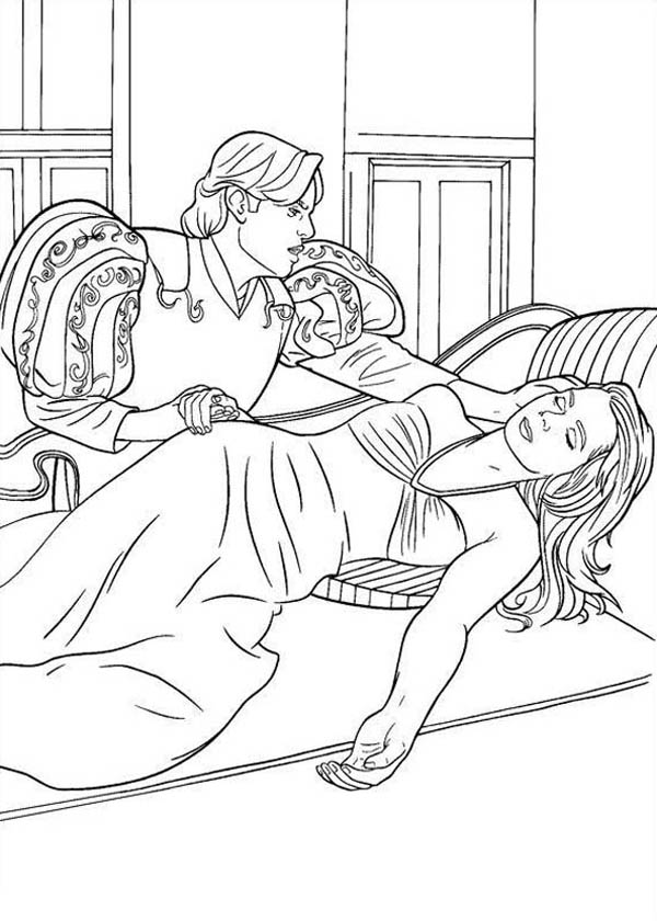 Enchanted, : Giselle Unconscious Laying on Bed in Enchanted Coloring Pages