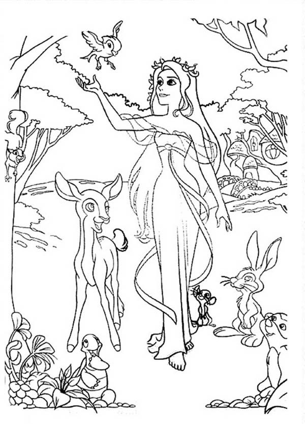 Enchanted, : Giselle Walking in the Wood in Enchanted Coloring Pages