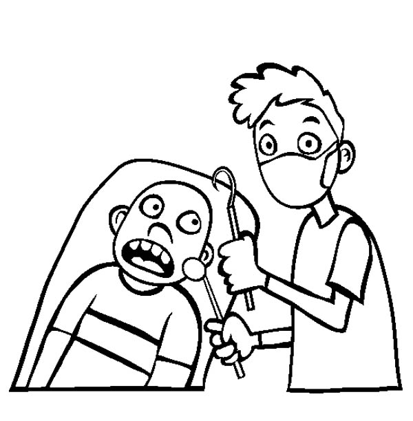 Dentist, : Going to Dentist for Healthy Teeth Coloring Pages