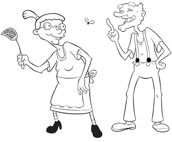 Hey Arnold, : Grandma Pookie and Grandpa Phil in Hey Arnold Coloring Pages